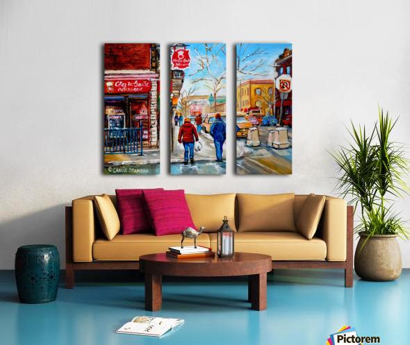 PATISSERIE CHEZ DEGAULLE MONTREAL WINTER STREET SCENE  Split Canvas print