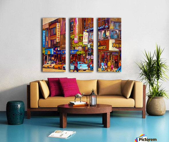 DOWNTOWN MONTREAL ST. CATHERINE WITH PAYLESS STORE Split Canvas print