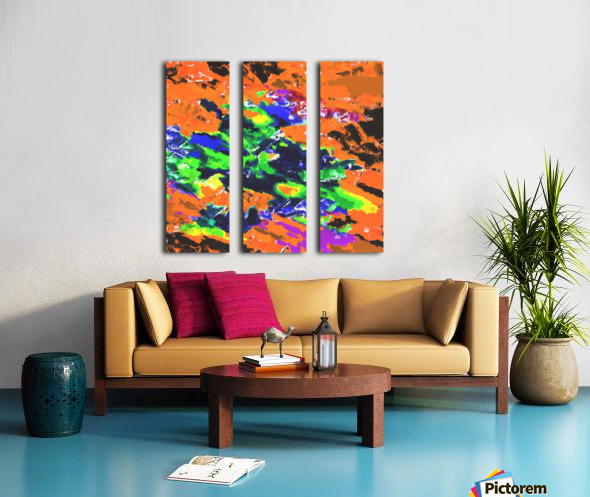 psychedelic splash painting abstract texture in brown green blue yellow pink Split Canvas print