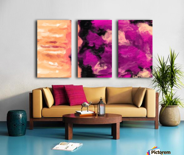 psychedelic splash painting abstract texture in pink purple black Split Canvas print