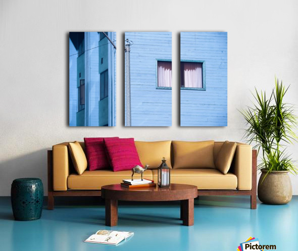 vintage blue wood building with window and electric pole Split Canvas print
