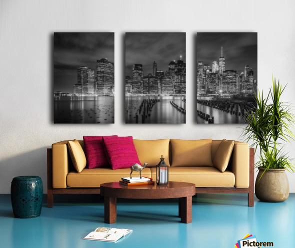 NEW YORK CITY Monochrome Night Impressions | Panoramic Split Canvas print