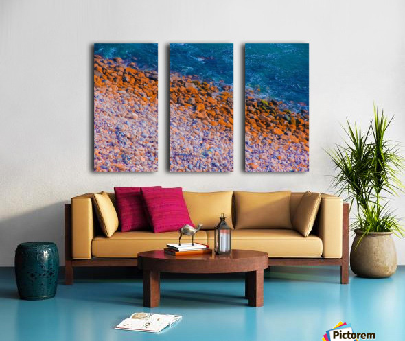 ocean with blue water and rock in summer Split Canvas print
