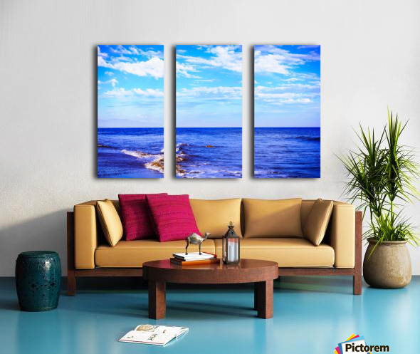 blue ocean view with blue cloudy sky in summer Split Canvas print