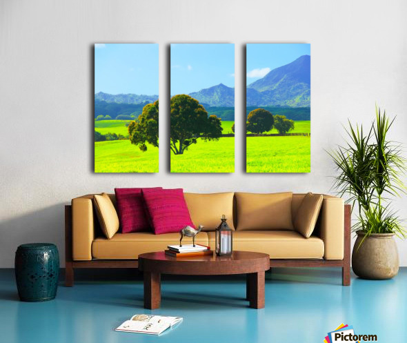 green tree in the green field with green mountain and blue sky background Split Canvas print