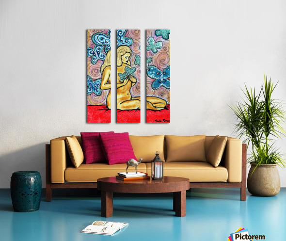 Desnudo con mariposas Split Canvas print