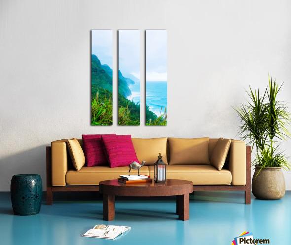 green mountain and ocean view at Kauai, Hawaii, USA Split Canvas print
