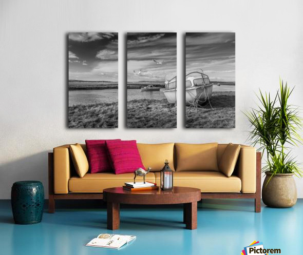 Loughor Estuary boats Wales Split Canvas print