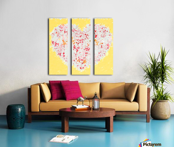 pink and red heart shape with yellow background Split Canvas print