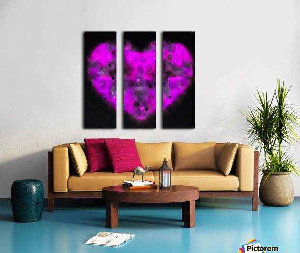 pink blurry heart shape with black background Split Canvas print