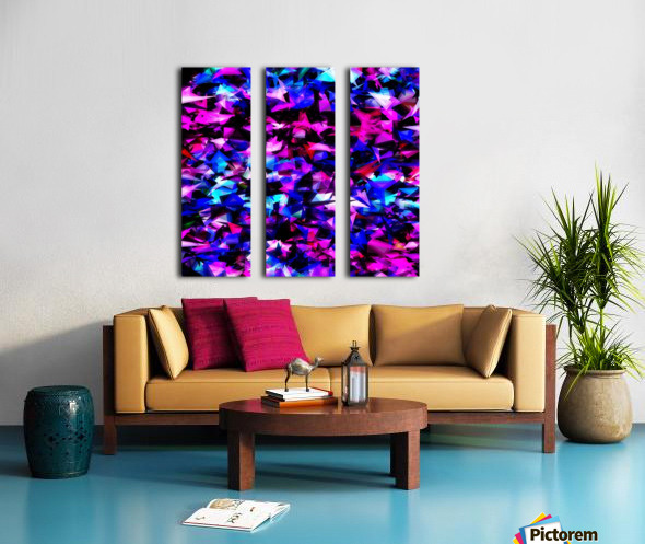 psychedelic geometric triangle polygon abstract pattern in pink blue black Split Canvas print