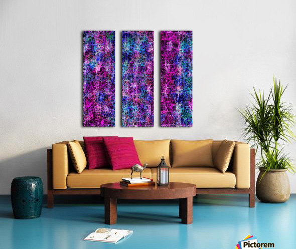 psychedelic abstract art pattern texture background in pink blue black Split Canvas print