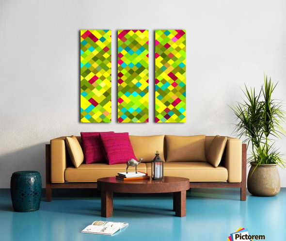geometric square pixel pattern abstract in yellow red green blue Split Canvas print