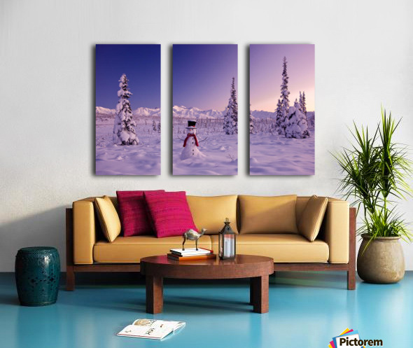 Snowman At Sunset, Snow Covered Spruce Trees, Winter, Chugach Mountains In The Background, Glenn Highway, Alaska Usa. Split Canvas print