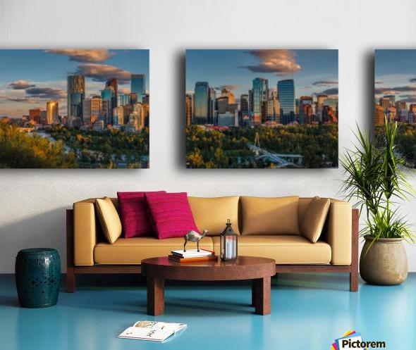 Calgary Downtown Four Bridges Sunset Split Canvas print