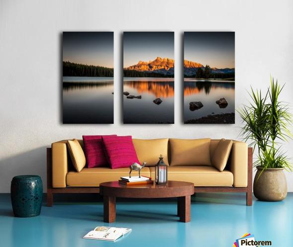 Rundle Mountain at TwoJacks Lake Split Canvas print