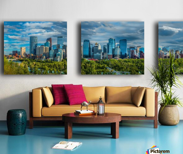 Calgary Downtown Four Bridges Blue Split Canvas print
