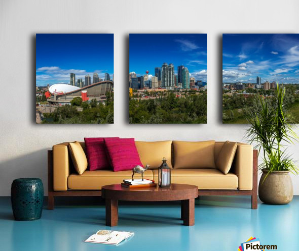 Calgary and the Saddledome on a Sunny Day Split Canvas print