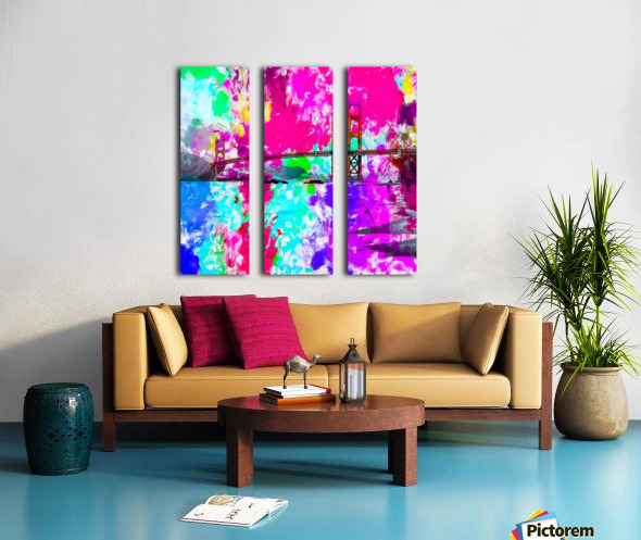 Golden Gate bridge, San Francisco, USA with pink blue green purple painting abstract background Split Canvas print