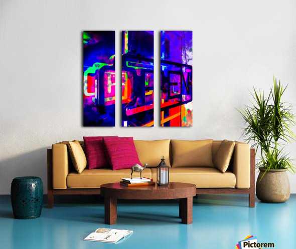 OPEN neon sign with pink purple red and blue painting abstract background Split Canvas print