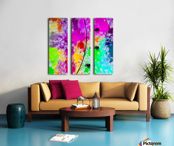 ferris wheel with pink blue green red yellow painting abstract background Split Canvas print