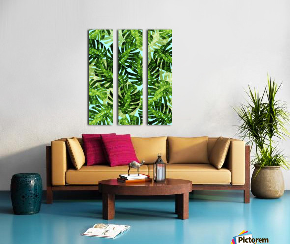 Watercolor leaves tropical I Split Canvas print