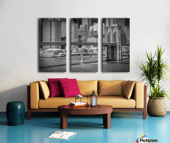 NEW YORK CITY Brooklyn Bridge & Manhattan Skyline Split Canvas print