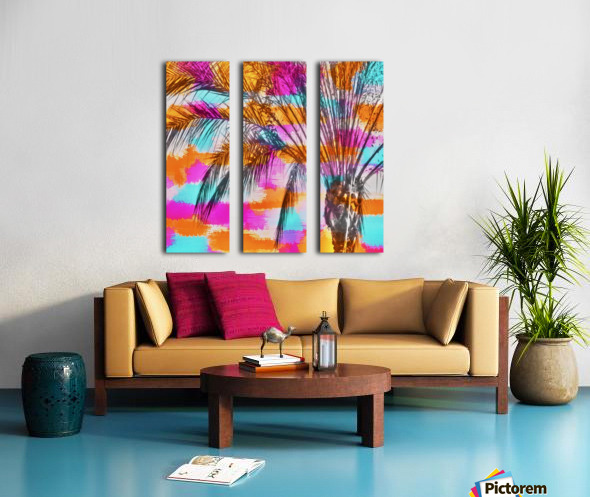 palm tree with colorful painting abstract background in pink orange blue Split Canvas print