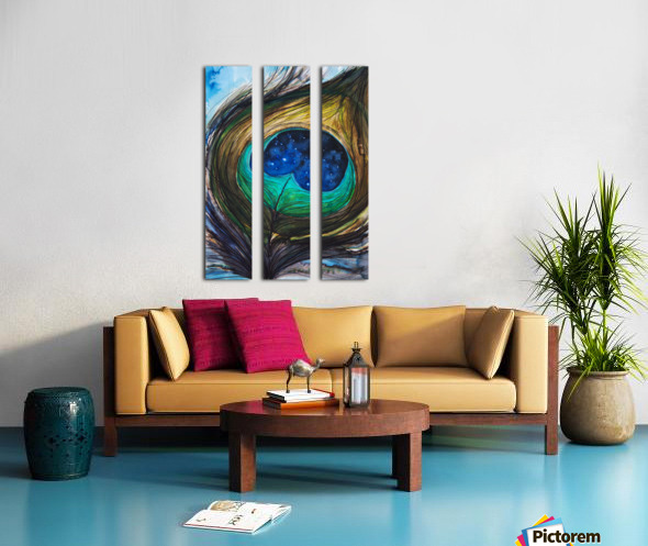 Artwork showing the detail of a colourful bird feather Split Canvas print