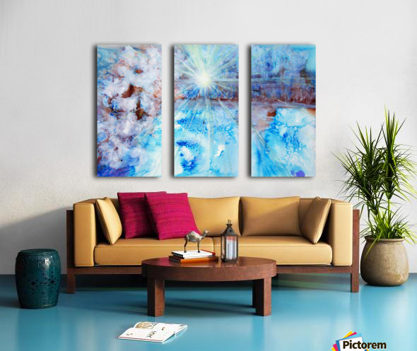 Abstract watercolour painting with a starburst Split Canvas print