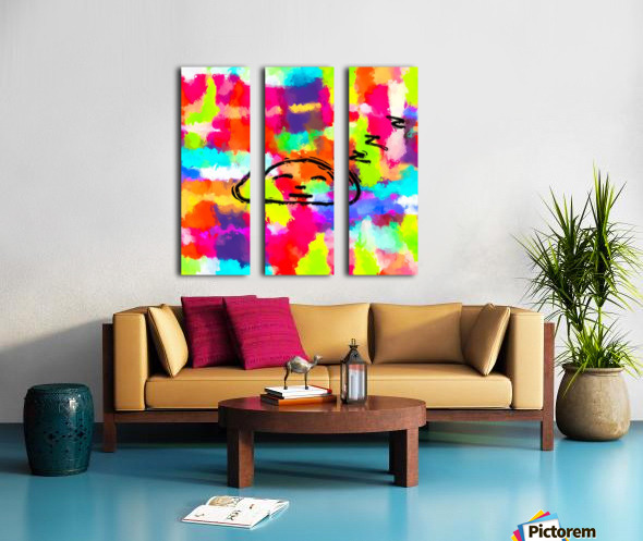 sleeping cartoon face with painting abstract background in red pink yellow blue orange Split Canvas print