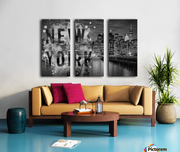 MANHATTAN SKYLINE Evening Atmosphere Split Canvas print
