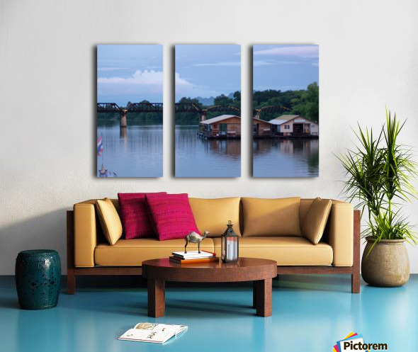 Boat trip on the river Kwai with sunset Split Canvas print