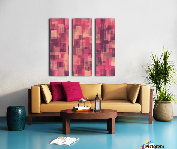 psychedelic geometric square pattern abstract in pink and purple Split Canvas print
