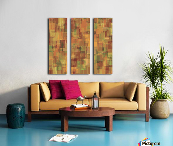 vintage psychedelic geometric square pattern abstract in brown and green Split Canvas print