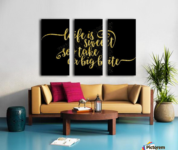 TEXT ART GOLD Life is sweet  Split Canvas print