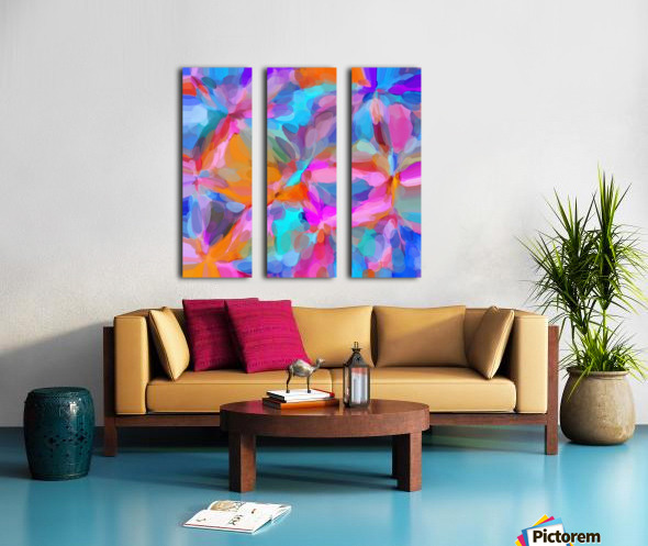 circle pattern abstract background in pink orange and blue Split Canvas print