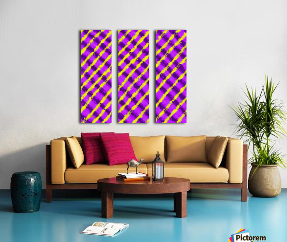 line pattern painting abstract background in purple and yellow Split Canvas print