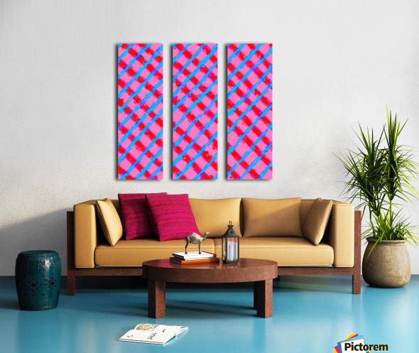 line pattern painting abstract background in pink red blue Split Canvas print