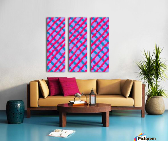 line pattern painting abstract background in red purple blue Split Canvas print
