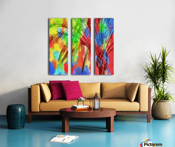 isolate palm tree with painting abstract background in red blue green yellow Split Canvas print