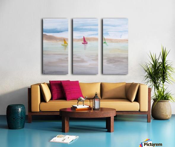 Three sailboats. Split Canvas print