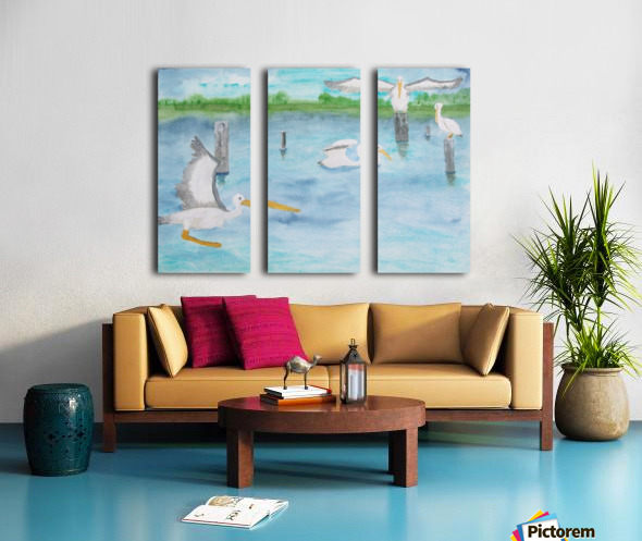 Pelicans in a coastal inlet. Split Canvas print