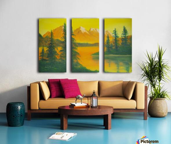 Yellow sky- snow capped mountains. Split Canvas print
