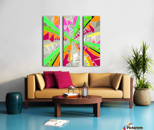 psychedelic geometric pattern drawing abstract background in green orange red pink Split Canvas print