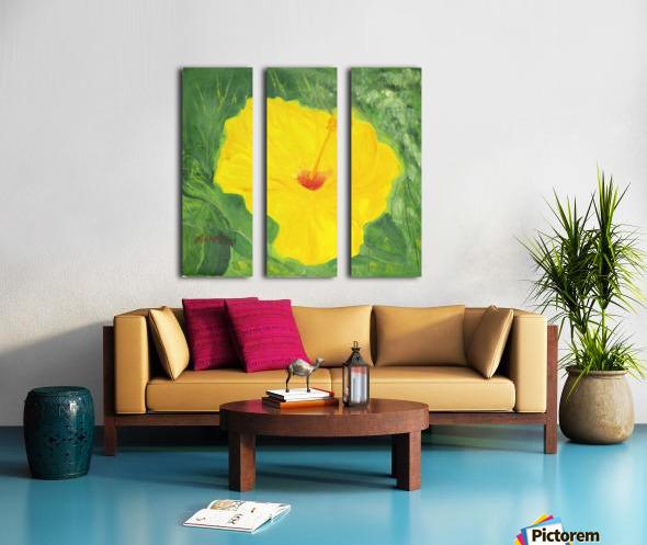 Yellow Hisbiscus Flower. Split Canvas print