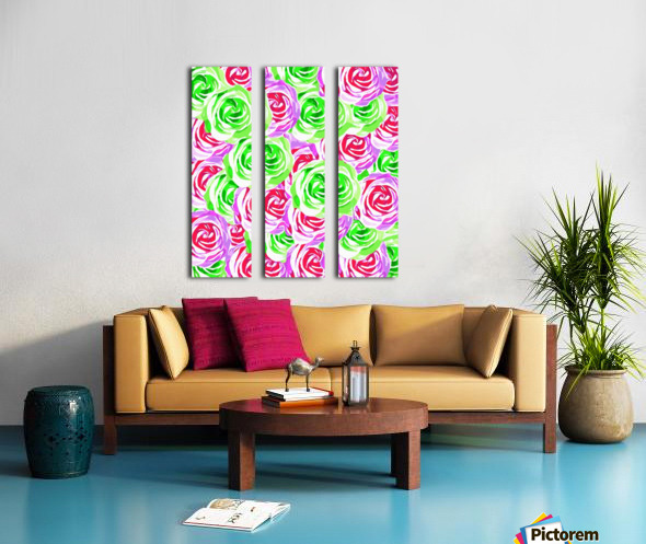 closeup rose pattern texture abstract background in pink red green Split Canvas print