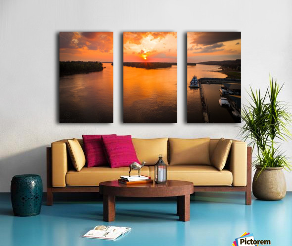 Grafton, IL River Sunset Split Canvas print