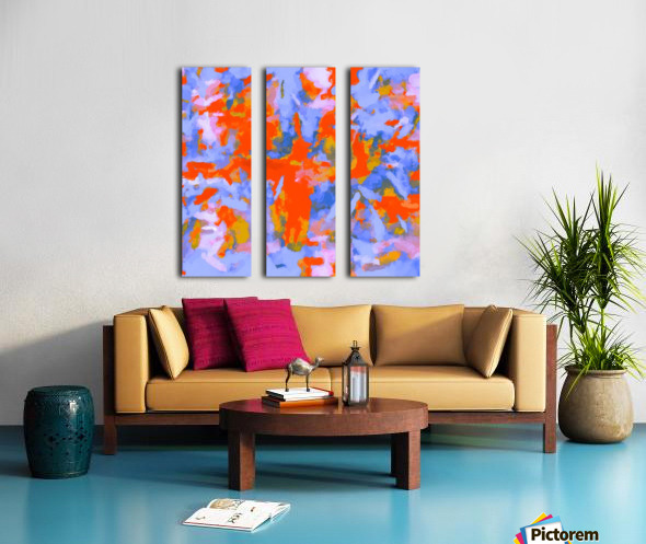 splash painting texture abstract background in red blue orange Toile Multi-Panneaux