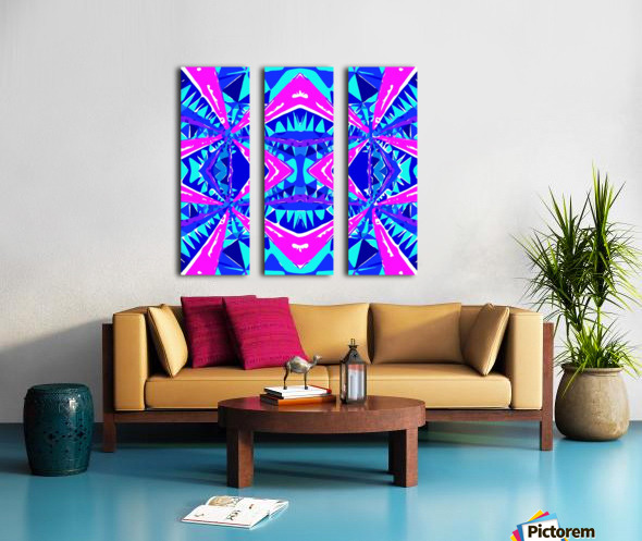 psychedelic geometric abstract pattern background in blue pink purple Split Canvas print